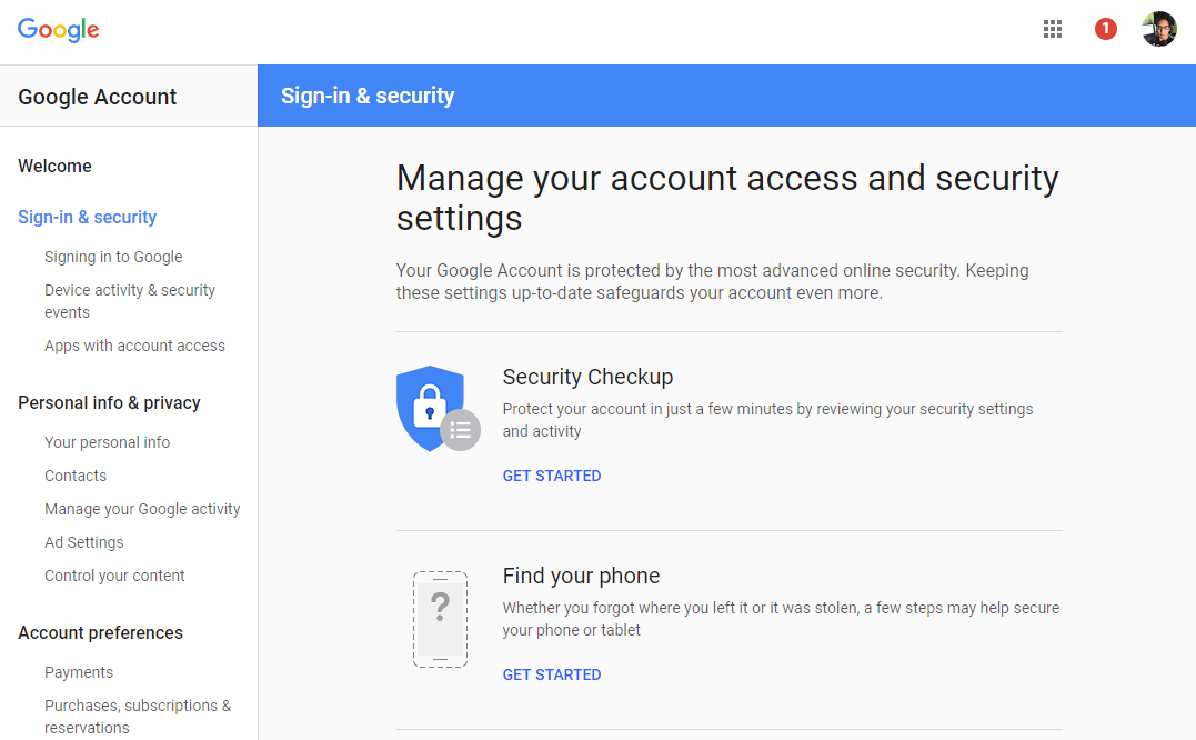 Google security preventing email application client to configure